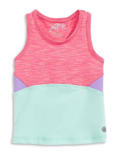 Jill Yoga Colourblocked Racerback Tank Top-PINK-4 plus size,  plus size fashion plus size appare