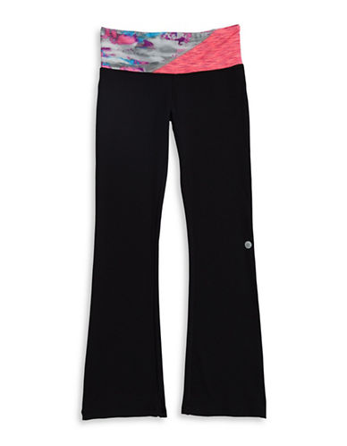 Jill Yoga Print Blocked Waistband Leggings-BLACK-X-Large 88558938_BLACK_X-Large