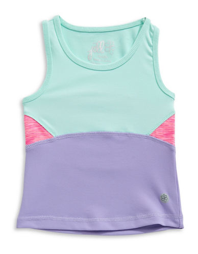 Jill Yoga Colourblocked Yoga Tank Top-BLUE-2T