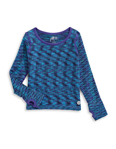 Jill Yoga Printed Thumb Hole Stretch Sweater-BLUE-2-4