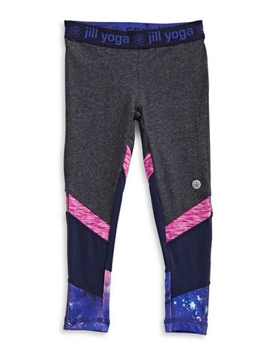 Jill Yoga Star Print Paneled Leggings-GREY-3T