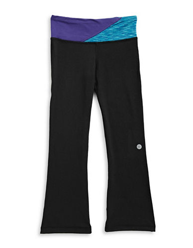 Jill Yoga Print-Blocked Waist Yoga Pants-BLACK-2