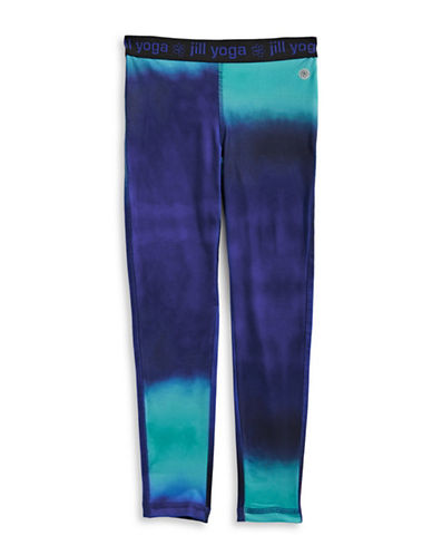Jill Yoga Printed Elastic-Waist Leggings-PURPLE-6