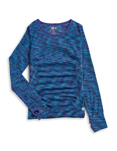 Jill Yoga Seamless Warm-Up Tee-BLUE-14-16