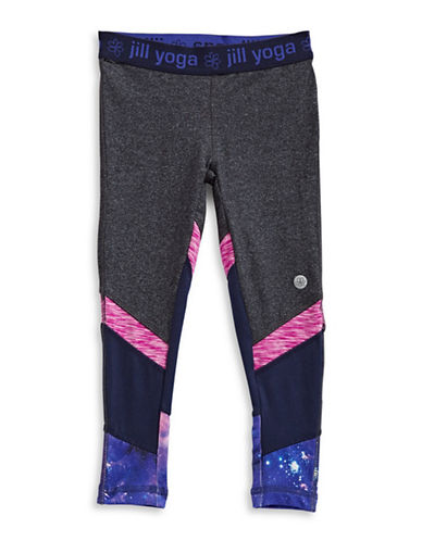 Jill Yoga Star Print Paneled Leggings-GREY-Large 89285118_GREY_Large