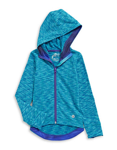 Jill Yoga Hooded Spacedye Yoga Jacket-BLUE-Large