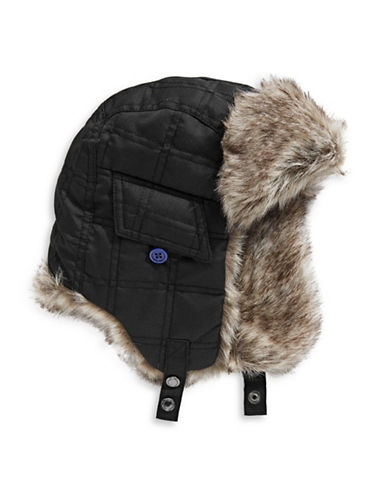 Winterproof Quilted Trapper Hat-BLACK-7-16
