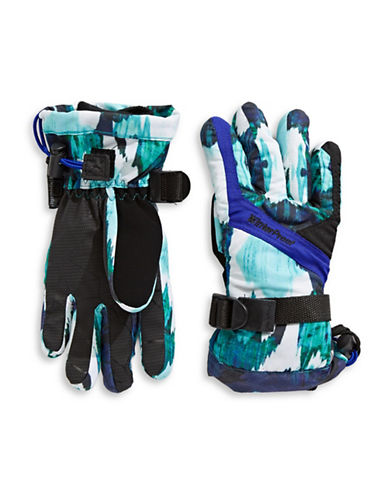 Winterproof Printed Ski Gloves-BLUE-4-5
