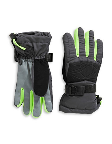 Winterproof Printed Ski Gloves-GREY-12-16