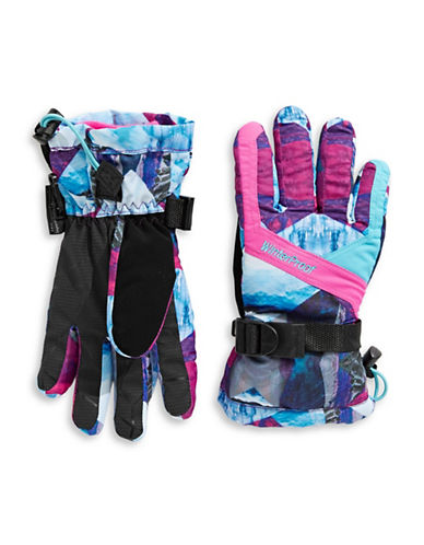 Winterproof Printed Ski Gloves-PINK-7-9