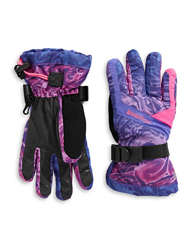 Winterproof Printed Ski Gloves-PURPLE-12-16