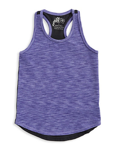 Jill Yoga Heathered Yoga Tank Top-BLUE-2