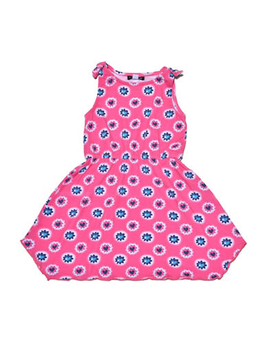 Preview Heart-Patterned Shoulder-Tie Dress-PINK-4
