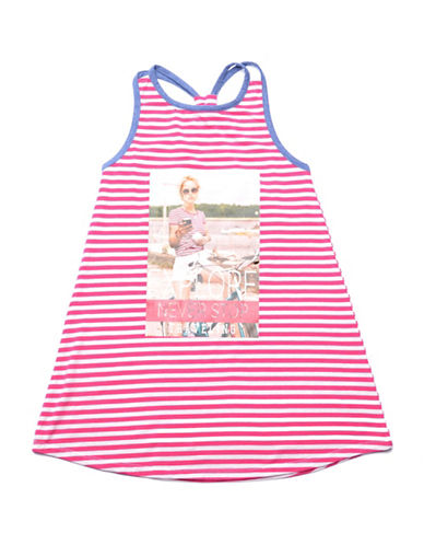 Preview Striped Graphic Printed Dress-PINK-10