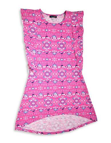 Preview Printed Frill Sleeve Dress-PINK-10