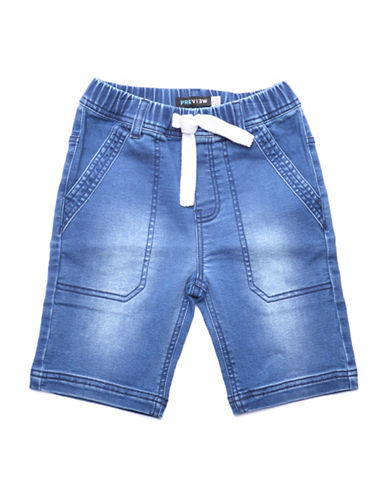 Preview Stitch Denim-Look Shorts-BLUE-2