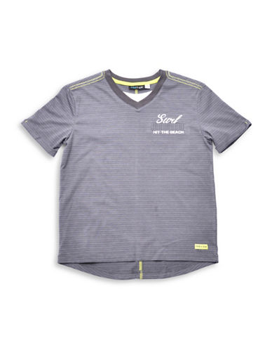 Preview Stripe V-Neck T-Shirt-GREY-Small