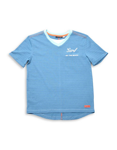 Preview Stripe V-Neck T-Shirt-BLUE-Medium