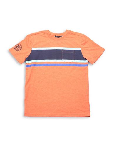 Preview Stripe Crew Neck T-Shirt-ORANGE-Small