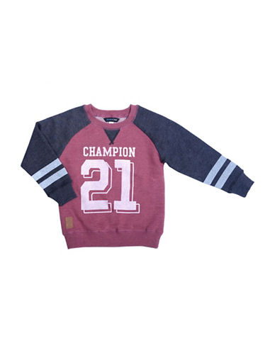 Preview Raglan Contrast Sleeves Graphic Sweater-BURGUNDY-3
