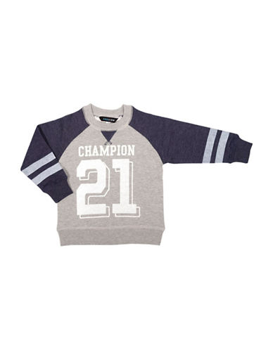 Preview Raglan Contrast Sleeves Graphic Sweater-GREY-2