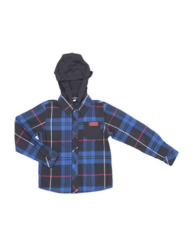 Preview Yarn-Dyed Plaid Hoodie Shirt-BLUE-7