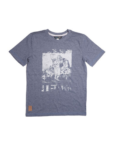 Preview Heathered Hockey Graphic Tee-BLUE-Small