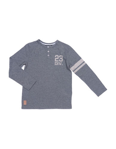 Preview Striped Sleeve Henley-GREY-Large
