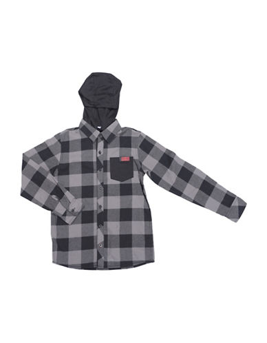 Preview Yarn-Dyed Gingham Hoodie Shirt-GREY-X-Large