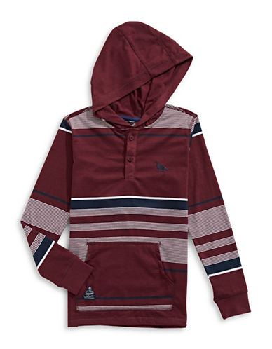Preview Stripe Polo Style Hoodie-RED-Large