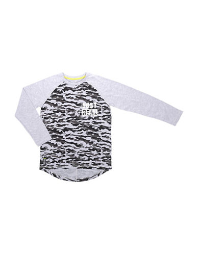 Preview Contrast Raglan Sleeves Tee-GREY-X-Large