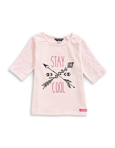 Preview Lace Glitter Graphic Tee-PINK-4