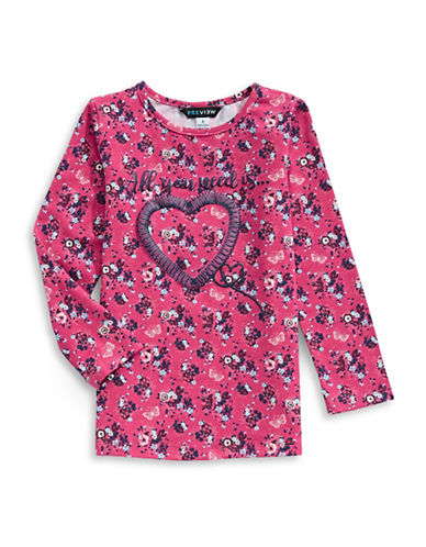 Preview Floral Heart Tunic Top-PINK-5