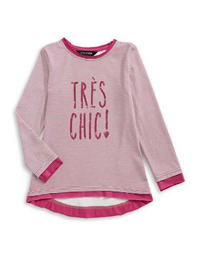 Preview Tres Chic Stripe Tunic Top-RED-3T