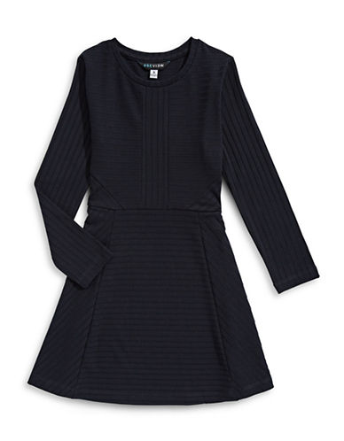 Preview Long Sleeve Knit Dress-DARK BLUE-6