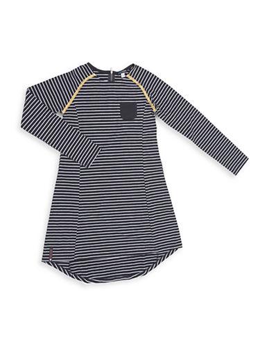 Preview Stripe Hi-Lo Dress with Pocket-BLACK-10