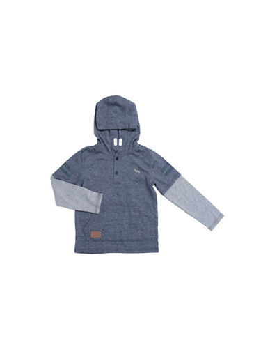 Preview Buttoned Placket Hoodie-BLUE-2