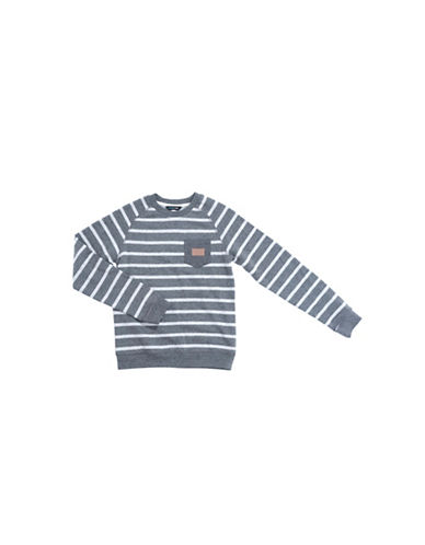 Preview Stripe Raglan Sleeve Sweatshirt-BLACK-Medium