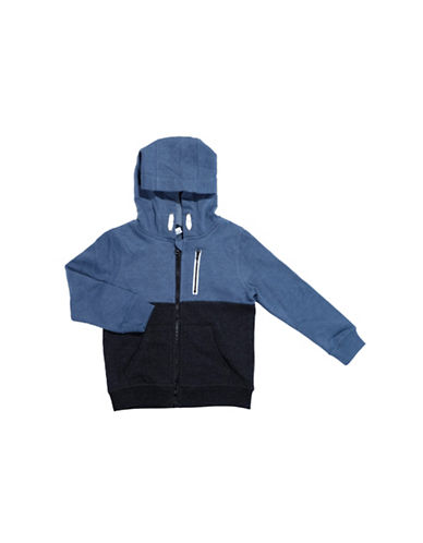 Preview Long Sleeve Fleece Hoodie-DARK BLUE-2