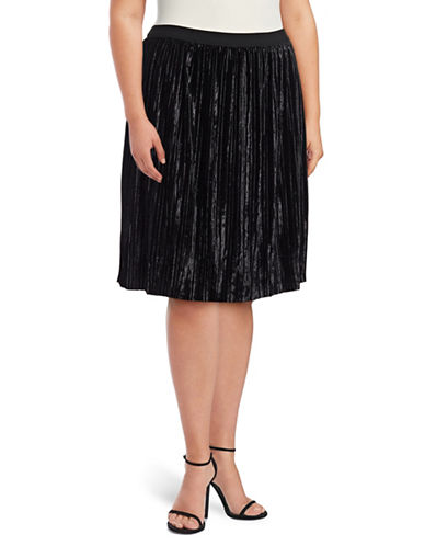 Lord & Taylor Plus Bergonia Crushed Velvet Knee-Length Skirt-BLACK-2X