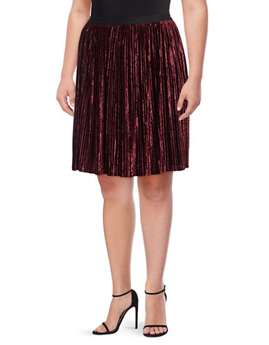 Lord & Taylor Plus Bergonia Crushed Velvet Knee-Length Skirt-RED-0X