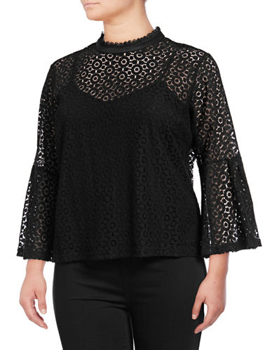 Lord & Taylor Plus Georgia Lace Bell-Sleeve Top-BLACK-2X