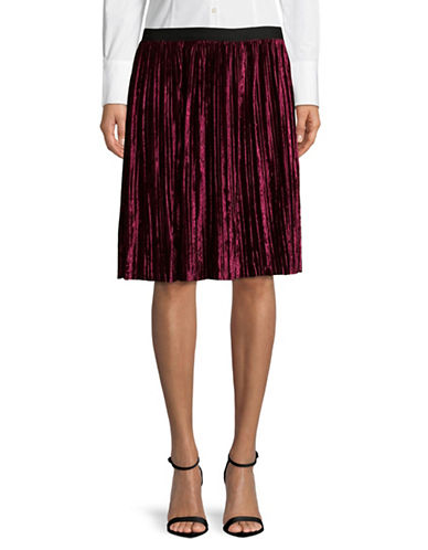 Lord & Taylor Crushed Velvet Midi Skirt-PURPLE-X-Large