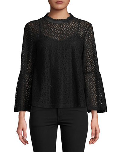 Lord & Taylor Georgia Lace Bell-Sleeve Top-BLACK-Small