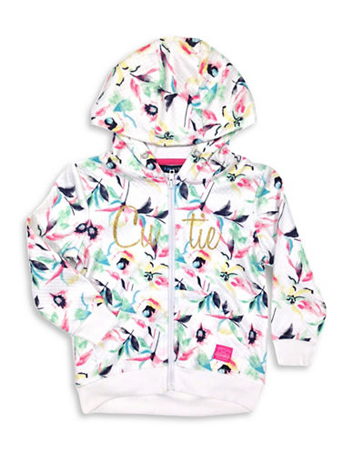 Preview Quilted Print Zip-Up Hoodie-WHITE-2T