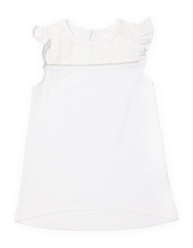 Preview Ruffle Cap-Sleeve Tunic Top-WHITE-6