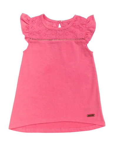 Preview Ruffle Cap-Sleeve Tunic Top-SHELL PINK-3T