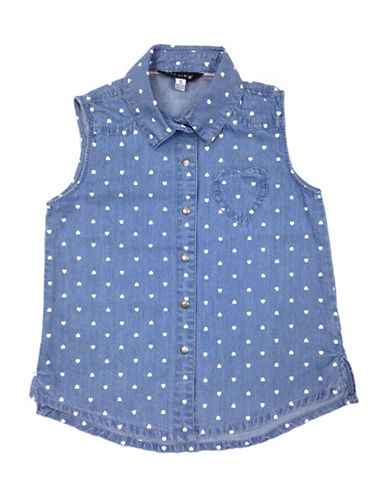 Preview Heart-Print Chambray Shirt-BLUE-3T