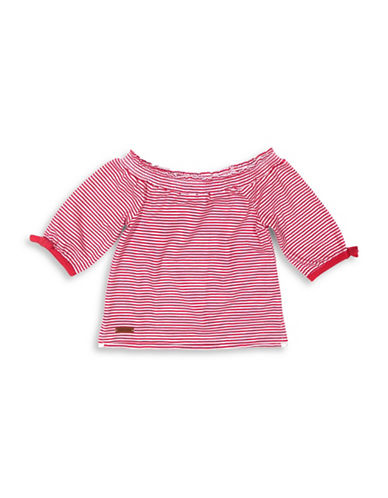 Preview Striped Off-The-Shoulder Top-TEA BERRY-2T