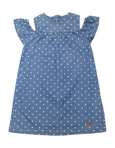 Preview Heart-Print Chambray Dress-BLUE-2T